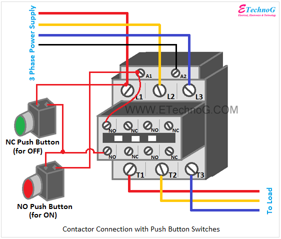 Contactor connection with push button switches