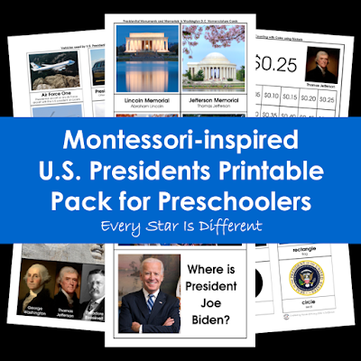 Montessori-inspired U.S. Presidents Printable Pack for Preschoolers