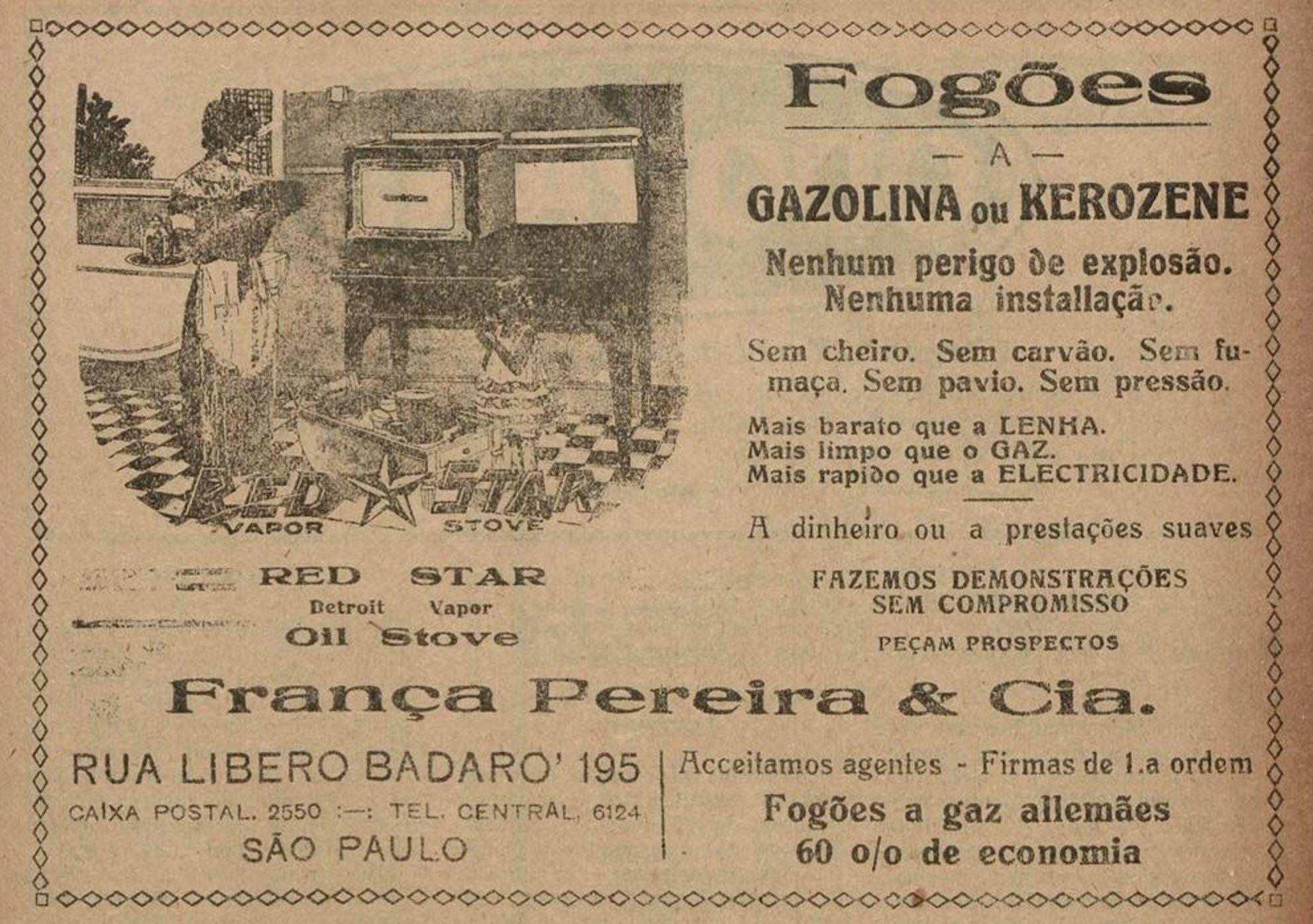 Anúncio de 1925 promovia os fogões a gasolina ou querosene da Red Star