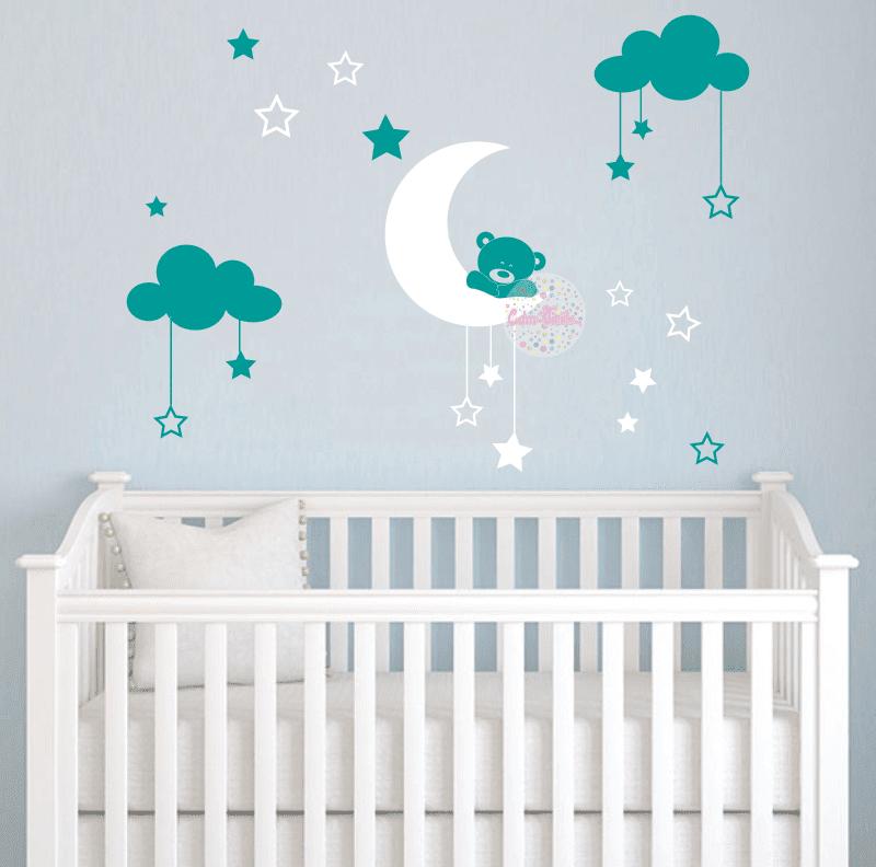 Vinilo Infantil Osito En Luna Con Nubes Y Estrellas W413