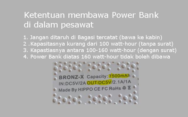 Ketentuan membawa power bank di dalam pesawat terbang