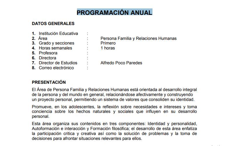 PROGRAMACIÓN ANUAL DEL CURSO DE PERSONA FAMILIA Y RELACIONES HUMANAS ...