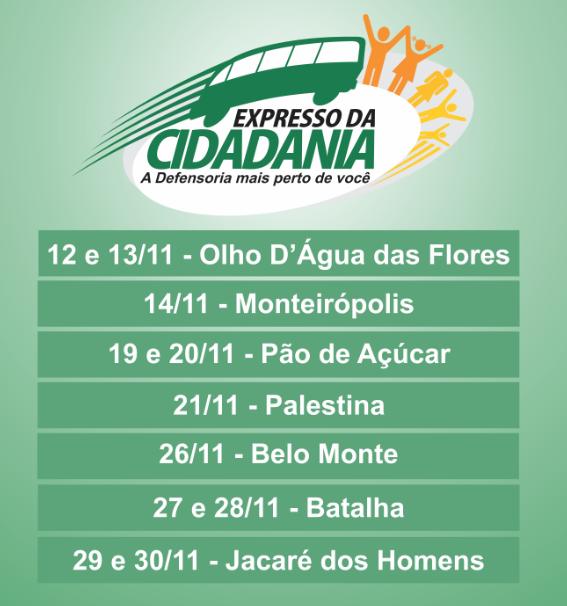 Olho D'Água das Flores, Monteirópolis, Pão de Açúcar, Palestina, Belo Monte, Batalha e Jacaré dos Homens recebem ações do Expresso da Cidadania