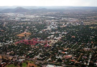 Imagem aérea de Gaborone – Botsuana