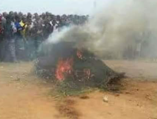 Graphic photos: Gov. Ortom imposes dusk to dawn curfew in Gboko town as 7 suspected Fulani herdsmen are killed and set ablaze by irate youths
