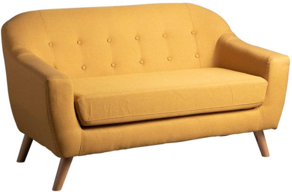 Sofá de estilo nórdico color amarillo ocre