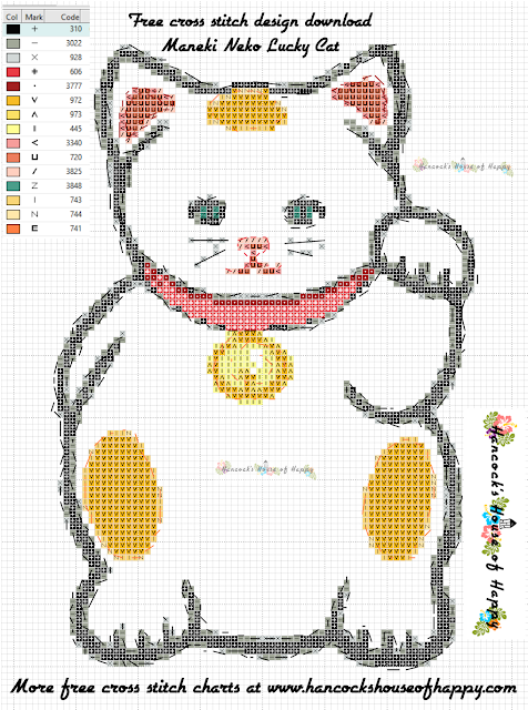 Big Maneki Neko Lucky Cat Cross Stitch Pattern Free to Download