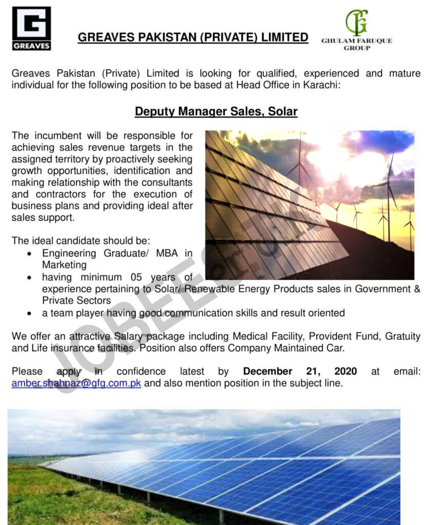Greaves Pakistan Private Limited Jobs Deputy Manager Sales Solar