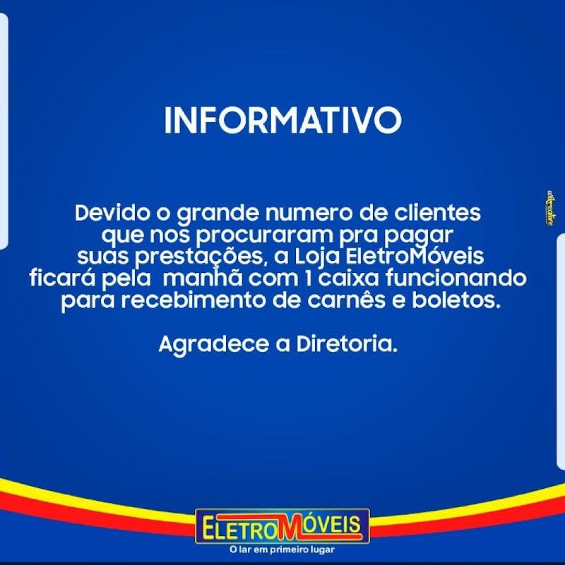 Eletromóveis em Pedreiras vai disponibilizar um caixa para pagamento de prestações.