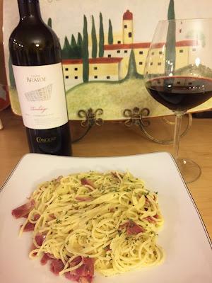 Spaghetti alla Carbonara wine pairing with Teroldego