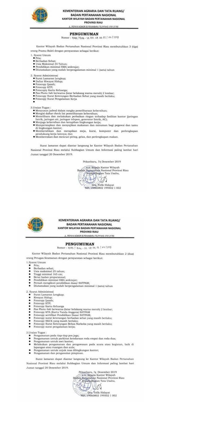 Lowongan Kerja Non PNS Badan Pertanahan Nasional Tingkat SMA Sederajat Bulan Desember 2019