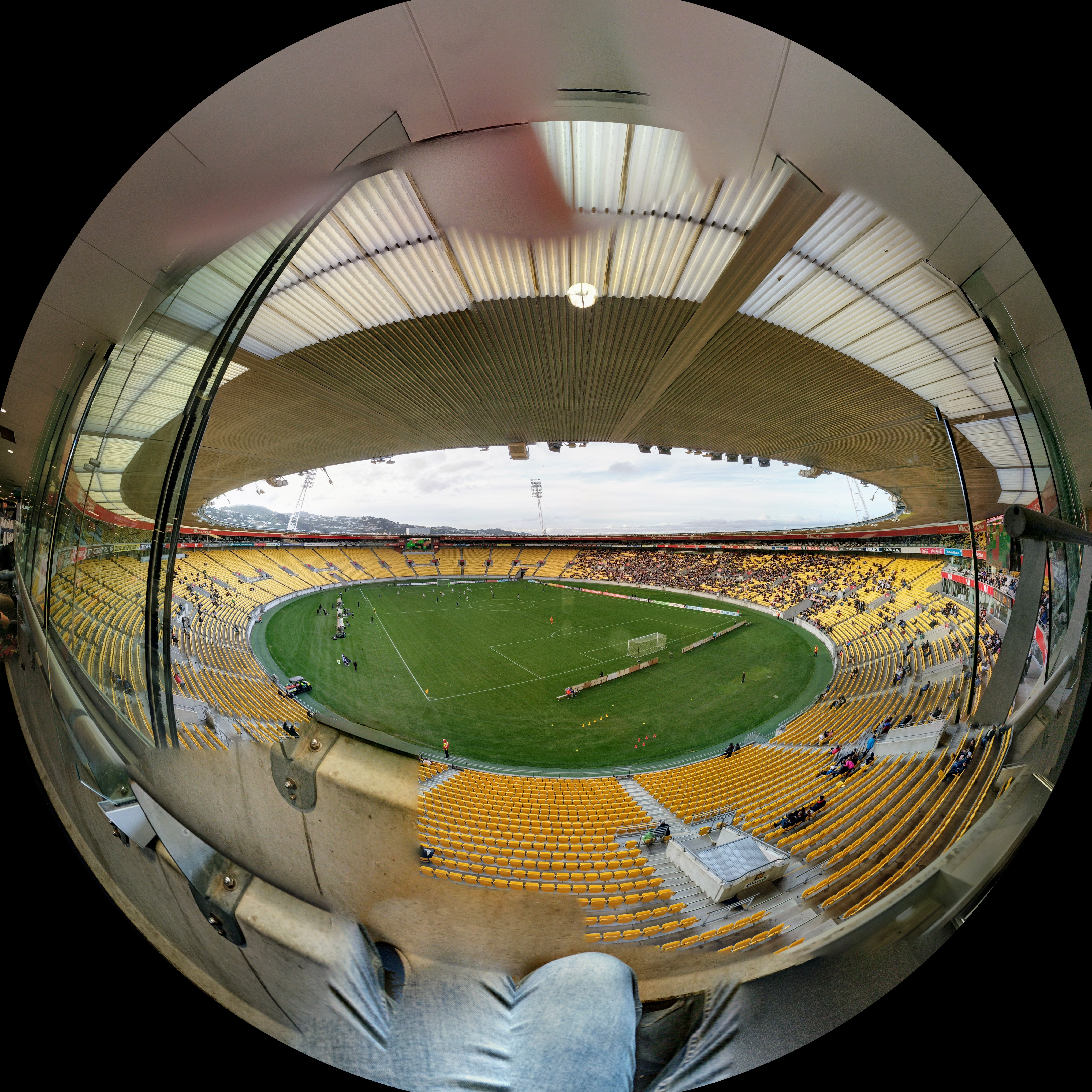 Fisheye view of inside Wellington Stadium