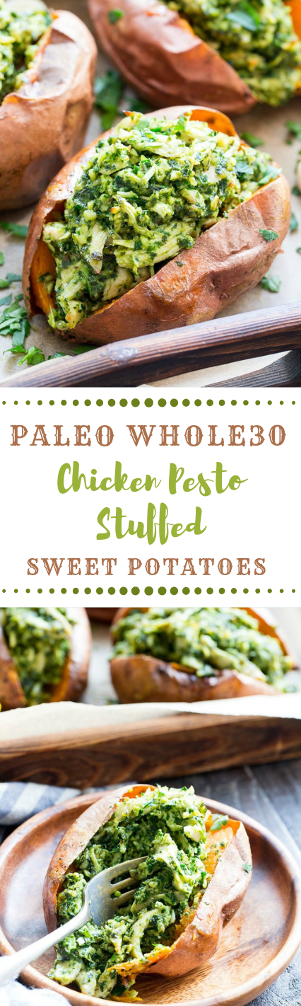 Chicken Pesto Stuffed Sweet Potatoes #Paleo #Whole30 #keto #diet #yummy