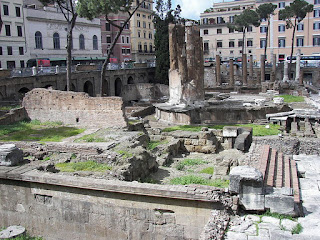 The remains of the Largo di Torre Argentina as the are today, in the Campo de' Fiori area of Rome