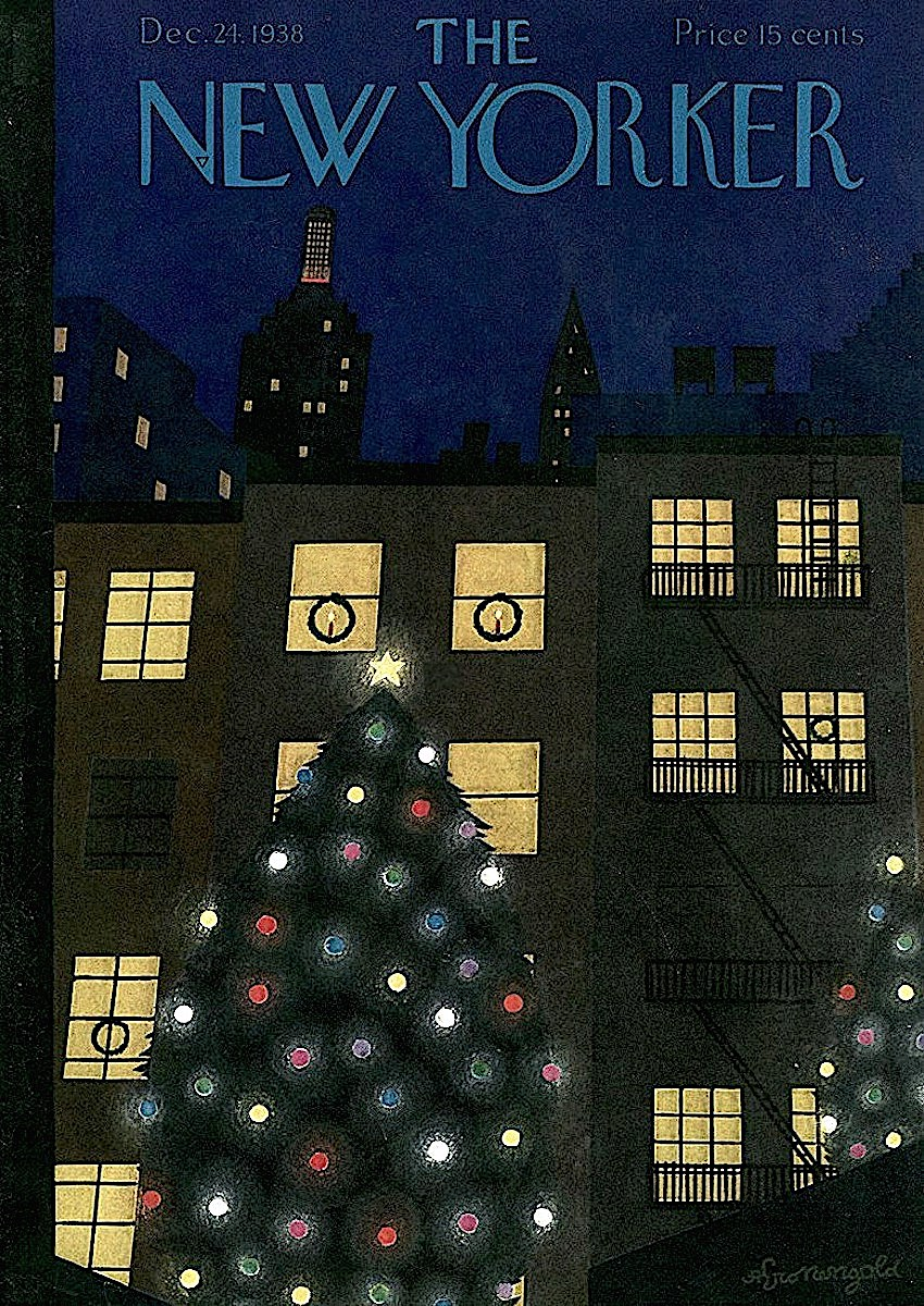 an Adolph K. Kronengold illustration of an exterior Christman tree lit at night for The New Yorker Magazine, December 24 1938