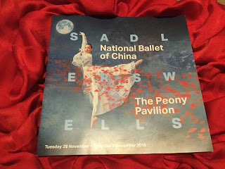 Pic of Sadler's Wells Programme for The Peony Pavilion on red background
