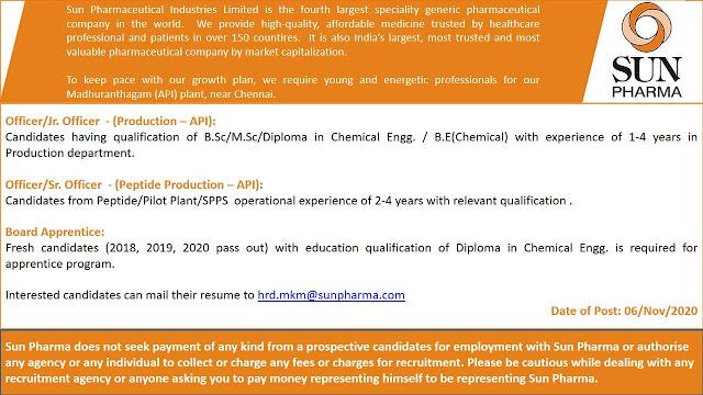 Sun Pharma | Urgent openings for Production & Freshers for Apprentice | Send CV