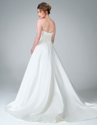 mercy- beauitful with pocket and ivory-oyster color wedding dress back side