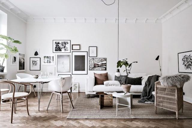 Alb, negru și mult lemn într-un apartament de 92 m²