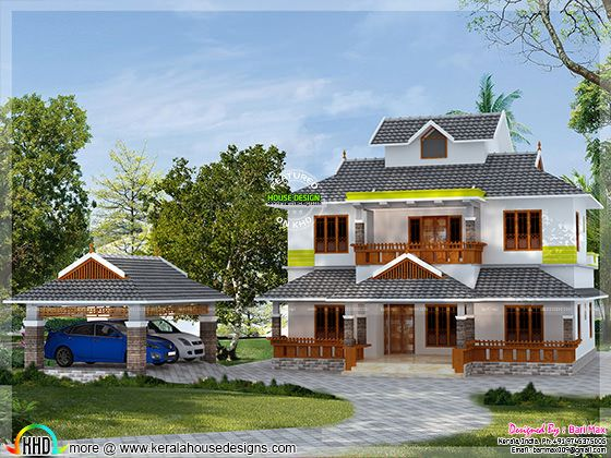 2500 sq-ft slop roof home in Kerala