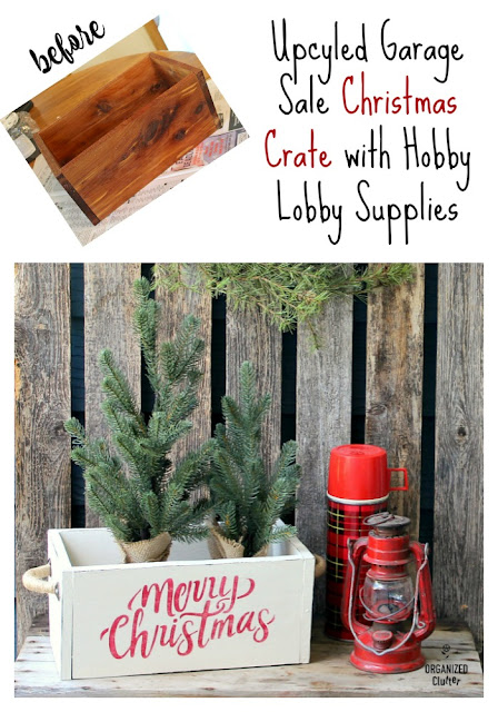 Garage Sale Wooden Box Upcycled As Inexpensive Christmas Decor #hobbylobbystencil #hobbylobby #hobbylobbyhardware #Christmas #stencil #farmhouseChristmas #upcycle #garagesalefinds