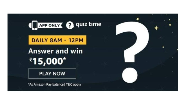 Amazon Quiz Answers Today 26 December win - Of ₹15000 Pay Quiz