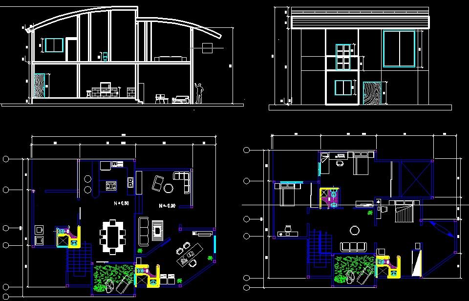 Duplex House Cad Block In Dwg