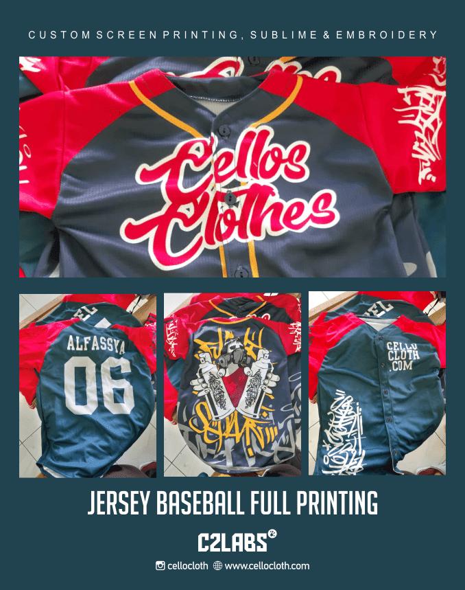 Jersey Basball Full Print Bahan Adem untuk Seragam Anak dan Dewasa - Jersey Baseball