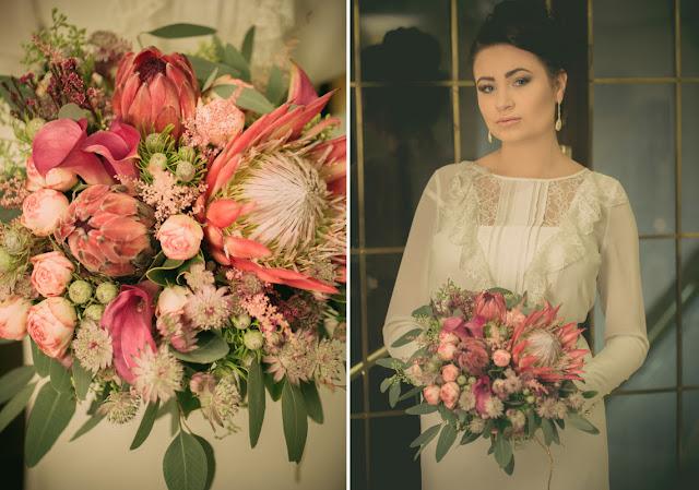 Pastelowy, różowy bukiet ślubny.