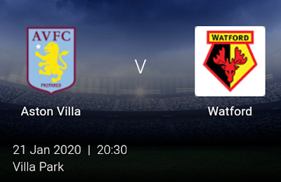 LIVE MATCH: Aston Villa Vs Watford Premier League 21/01/2020
