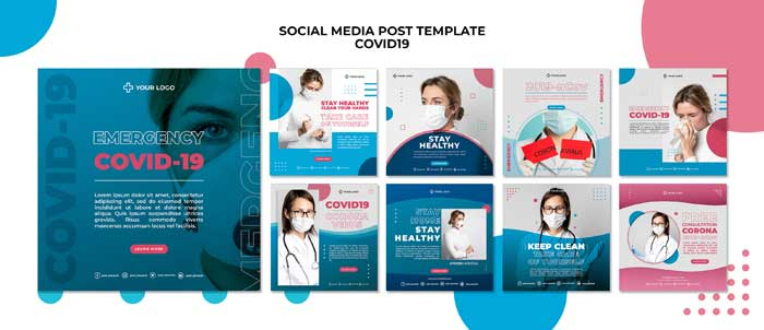 Covid19 Social Media Post PSD Template