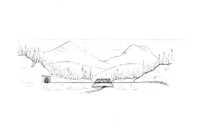 Original sketch of a planned painted mountain backdrop scene