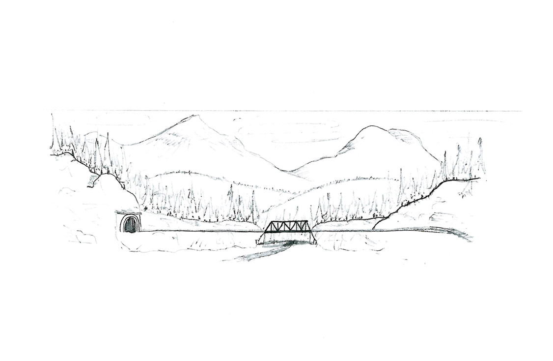 Original sketch of a planned mountain background scene