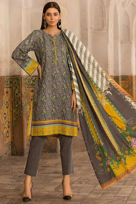 Warda Printed Khaddar shirt dupatta suit with grey color winter unstitched collection