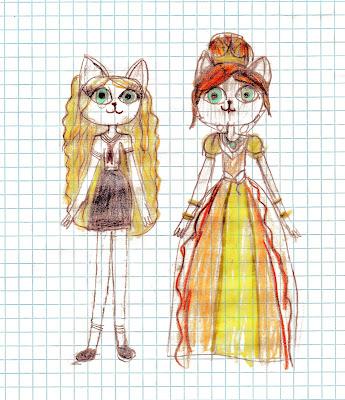 детский рисунок кошка - королева с дочкой принцессой школьницей, 100 дней - 100 рисунков