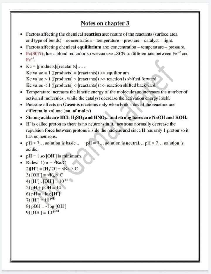 ملخص قوانين Chemistry للثانوية العامة لغات 4