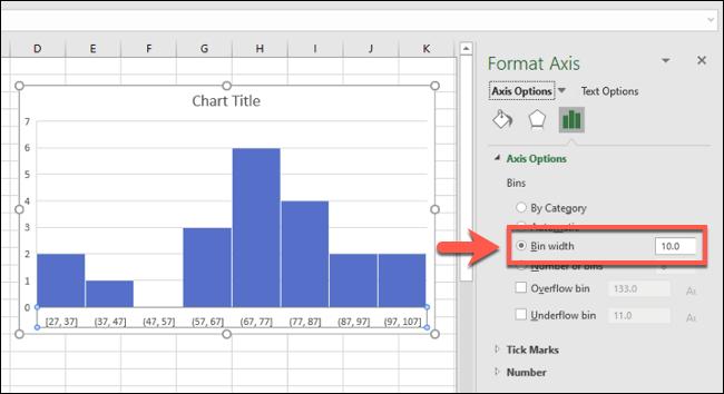مدرج تكراري لـ Excel مع مجموعات بن مجمعة حسب عرض الحاوية
