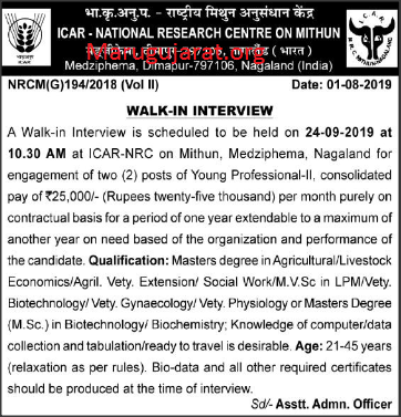 ICAR-NRCM Recruitment For Young Professional-II Posts 2019