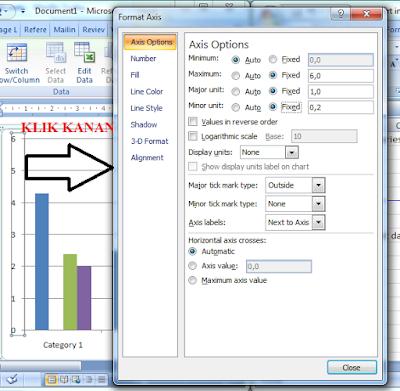 Mengatur nilai sumbu vertikal diagram batang