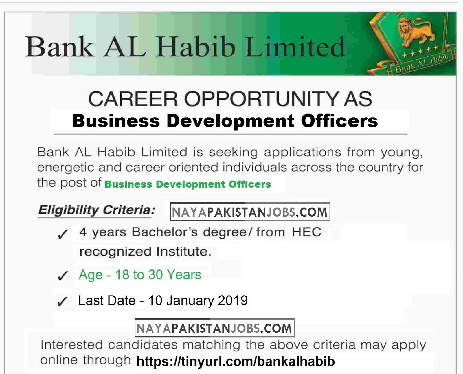 Bank Al Habib Jobs 2019, Business Development Officers Jobs, Latest Vacancies Announced in www.bankalhabib.com Bank Al Habib for Business Development Officers – Islamic Banking 16 December 2018 - Naya Pakistan