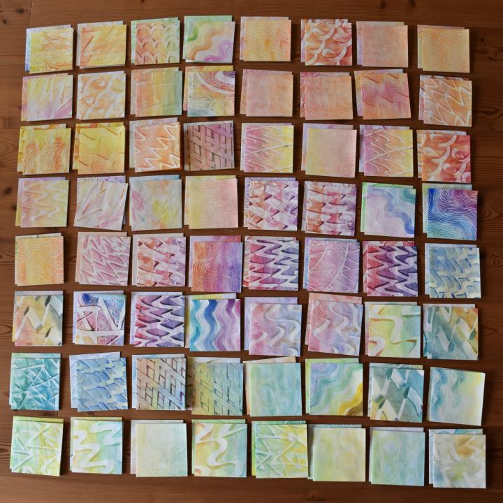 Karten und Kuverts aus Kleisterpapier, Pastepaper