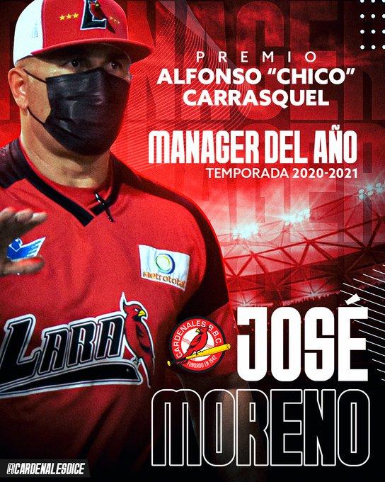 José Moreno, de los Cardenales de Lara, mejor manager del año de la temporada 2020-2021 de la LVBP