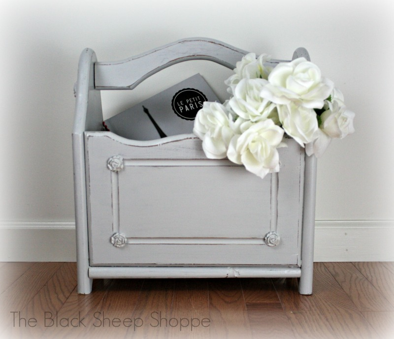 Shabby chic magazine rack painted in General Finishes Milk Paint Seagull Gray.