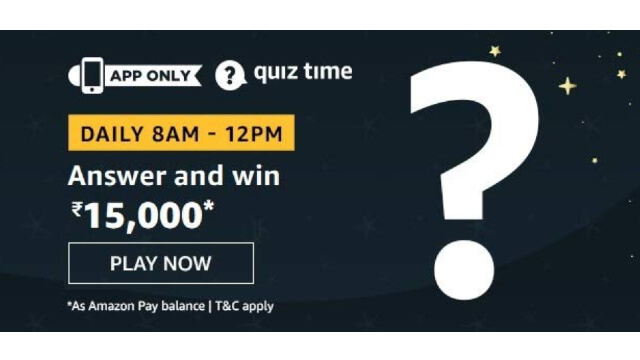 Amazon ₹15000 Pay Quiz Answers - Win ₹15000 Pay Balance