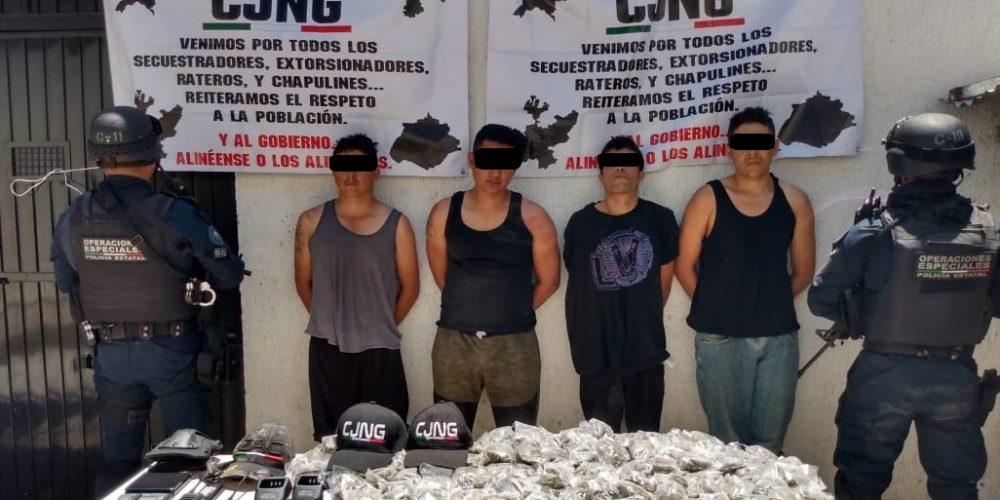 Capturan con todo y Narcomantas a Sicarios del CJNG en Calvillo, Aguascalientes por elementos de la SSP, Sedena y GN