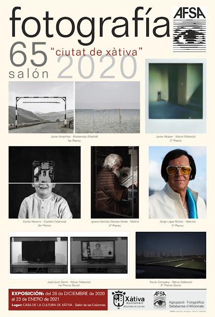 65 salon nacional de fotografia ciutat de xativa 2020 organizado por AFSA. Inauguracion exposicion y premios el 28 de diciembre. abierta hasta el 23 de enero en Casa de cultura de Xativa