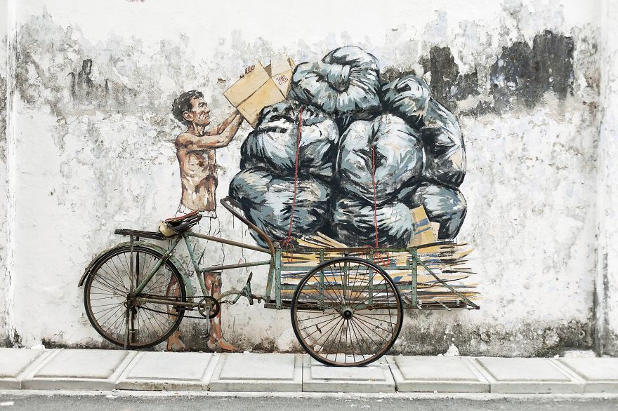 These 30+ Street Art Images Testify Uncomfortable Truths - Consumerism And Delivering Trash