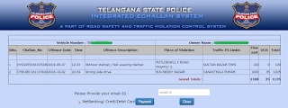 Email Id option for TS Traffic E Challan Online