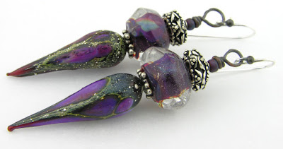 purple artisan lampwork earrings and sterling silver