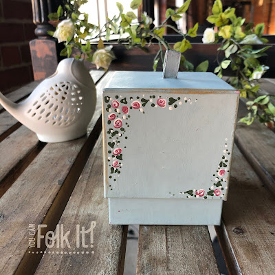 Handpainted chocolate box using folk art painting techniques by You Can Folk It